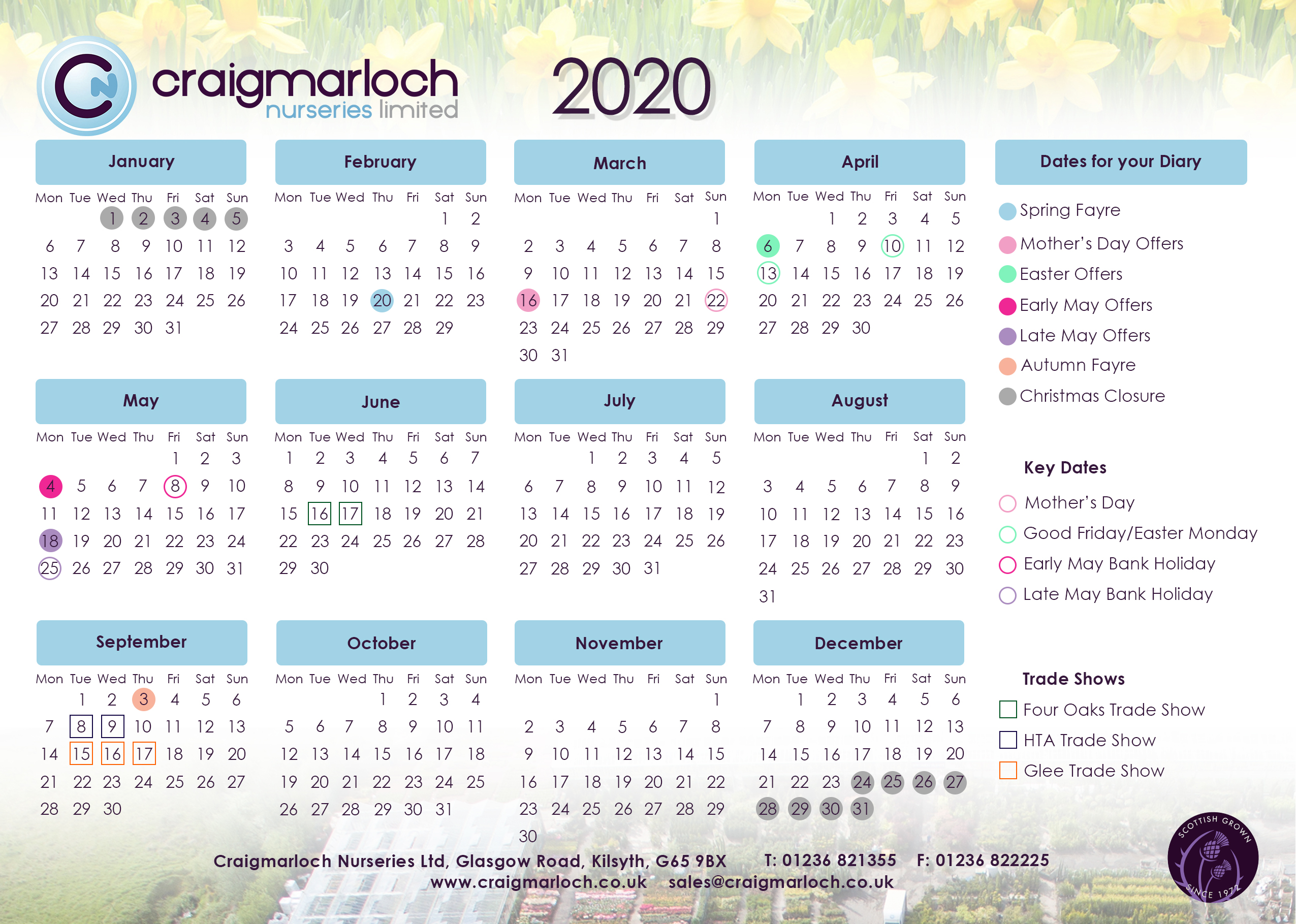 Dates For Your Diary 2020