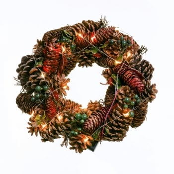 "12"" Acorn Wreath with Lights"