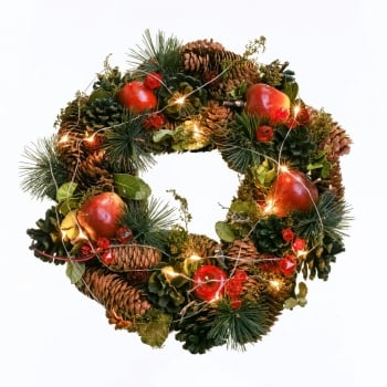 "12"" Red Apple Wreath with Lights"