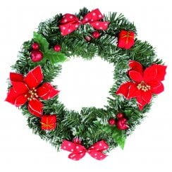 "16"" Red Flowers & Bows Wreath"