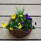 30cm Pansy Artificial Wall Basket