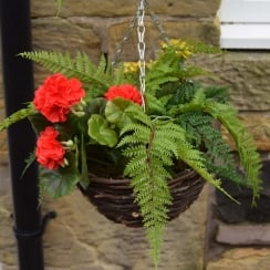 30cm Red Fern Mix Round Artificial Hanging Basket