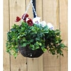 30cm Small Purple & White Pansy Artificial Hanging Basket