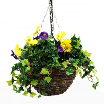 30cm Small Purple & Yellow Pansy Artificial Hanging Basket