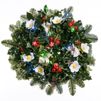 "33. Light Up Holly Wreath 12""/30cm"