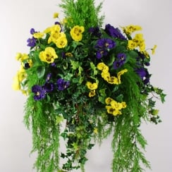 40cm Large Purple & Yellow Pansy Artificial Hanging Basket