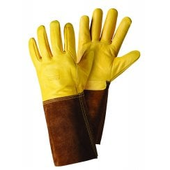 Premium Golden Leather Gauntlet Large Gloves