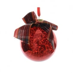 Christmas Red Glass Bauble with Bow