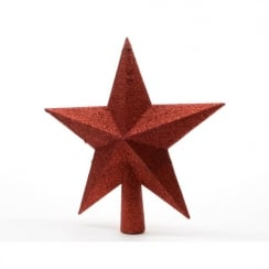 Christmas Red Glitter Star Tree Top