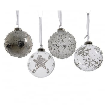 Clear & Silver Glass Bauble with Beads