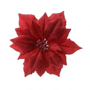 Fabric Poinsettia on Clip