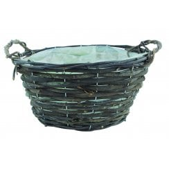 Black Rattan Basket with Ears