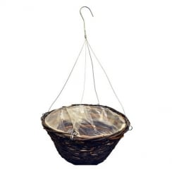 Black Rattan Round Growers Basket