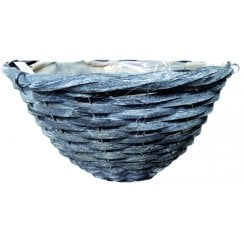 Grey Round Bamboo Basket