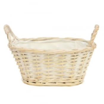 Fargro Whitewash Oval Planter with Handles (23cm)