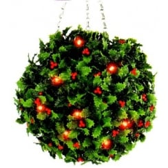 30cm Holly Effect Topiary Ball