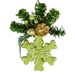 "Gold Snowflake Decoration ""Merry Christmas"""