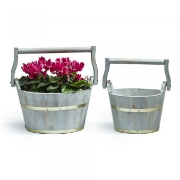 Grey Washed Pails (Set of 2)
