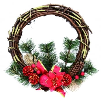 Half Red Bow Wreath