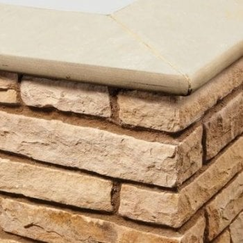 Natural Paving Bullnose Sandstone Paving Copings: Golden Fossil 600 x 300mm