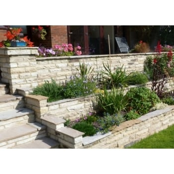 Natural Paving Cottagestone Walling 50-75mm: Golden Fossil Mixed 365 x 100mm