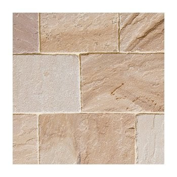 Natural Paving Fossestone 50mm Sandstone Block Paving: Orchard 250 x 150mm