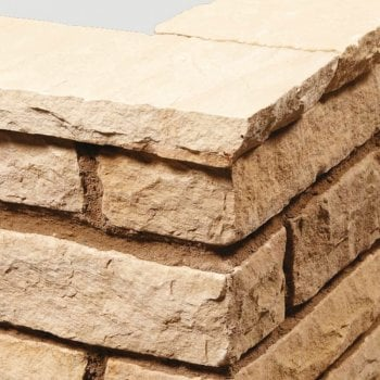 Natural Paving Sandstone Natural Chiseled Wall Copings: Golden Fossil 600 x 150mm