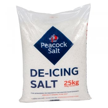 Peacock 25kg White De-Icing Rock Salt