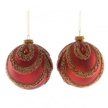Red Glass Bauble with Gold Beads