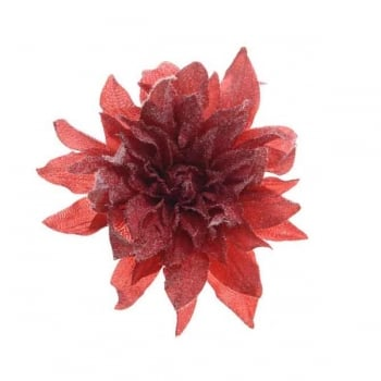 Red Silk Dahlia with Snow on Clip