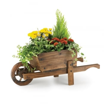 Rustic Burntwood Wheelbarrow Boxed