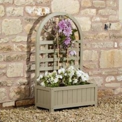 French Grey Lattice Planter
