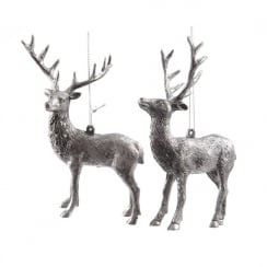 Silver Plastic Deer with Hanger