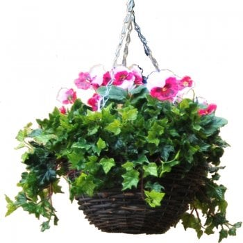 Tree Locate Pink & White Pansy Artificial Hanging Basket