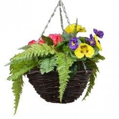 Purple & Pink Petunia Fern Mix Round Artificial Hanging Basket 30cm