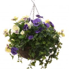 Purple & White Pansy Artificial Hanging Basket Pansy