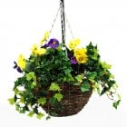 Purple & Yellow Pansy Artificial Hanging Basket