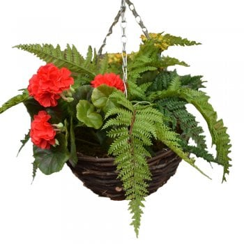 Tree Locate Red Fern Mix Round Artificial Hanging Basket 30cm