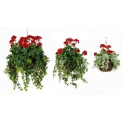 Red Geranium Artificial Hanging Basket
