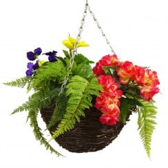 Red & Yellow Begonia Pansy Mix Round Artificial Hanging Basket 30cm