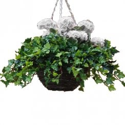 Small White Geranium Artificial Hanging Basket 30cm
