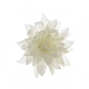 White Silk Dahlia with Snow on Clip